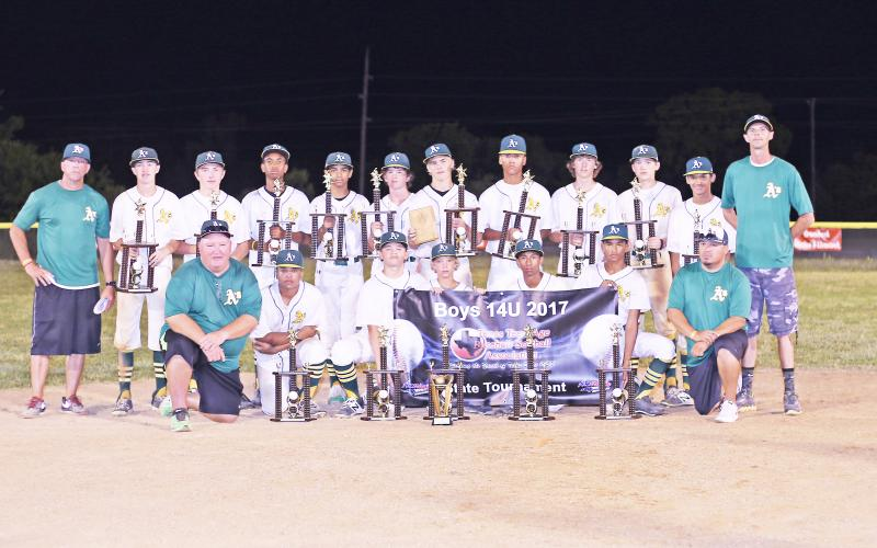 The Alto A's finished as the runner-up in the 2017 Texas Teenage Association of Baseball Boys 14U state tournament, held here in Groesbeck last week. Team members are (in no particular order) Joseph Reeves, Jackson Howell, Cody Watson, John Dixon, Jonathan Soto, Ethan Few, Kevin Blanton, Matthew Randall, Gregory Bolton, Jamarion Pope, Samuel Schlemmer, Hayden Carter, Terence Coleman, Logan Rogers. Pick-up players were Kenner Powell (Jacksonville Express), Chris Perez (Rusk Angels) and James Thompson (Rusk A