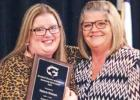 Community Spirit Award - Valerie Watson Valerie Watson (left) was presented the Community Spirit Award by Lisa Stewart. Stewart acknowledge Watson's work with community events and steadfast friendship throughout. Stewart gave a speech of appreciation de