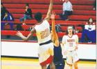 The Groesbeck Goats won over Frankston in a heated match that led to overtime play, final score 43-39. Pictured is freshman Allen Lewis soaring to the basket several seconds ahead of Frankston's defense.
