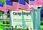 Flags fly high in front of Camp Hope, a place for veterans and their immediate families to come for a 90-day program to recover from post-traumatic stress disorder through group counseling and supportive care. A group from Mexia is planning to go to the Camp, near Houston, later in November for a one-day mission trip; and the organizers are looking for volunteers to go with them to help and show caring for the vets.