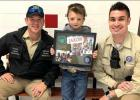 Pictured is Warden Thomas Rinn, Jaxon and Warden Dustin Delgado. Jaxon received a special present from Delgado, who met Jaxon at Groesbeck ISD during Red Ribbon Week. Delgado promised to bring the young student something that day, and returned months late